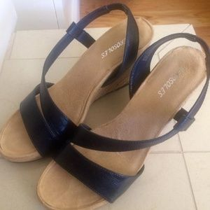 a5ed4802468f Aerosoles - Wedge Sandal with Navy Blue Straps